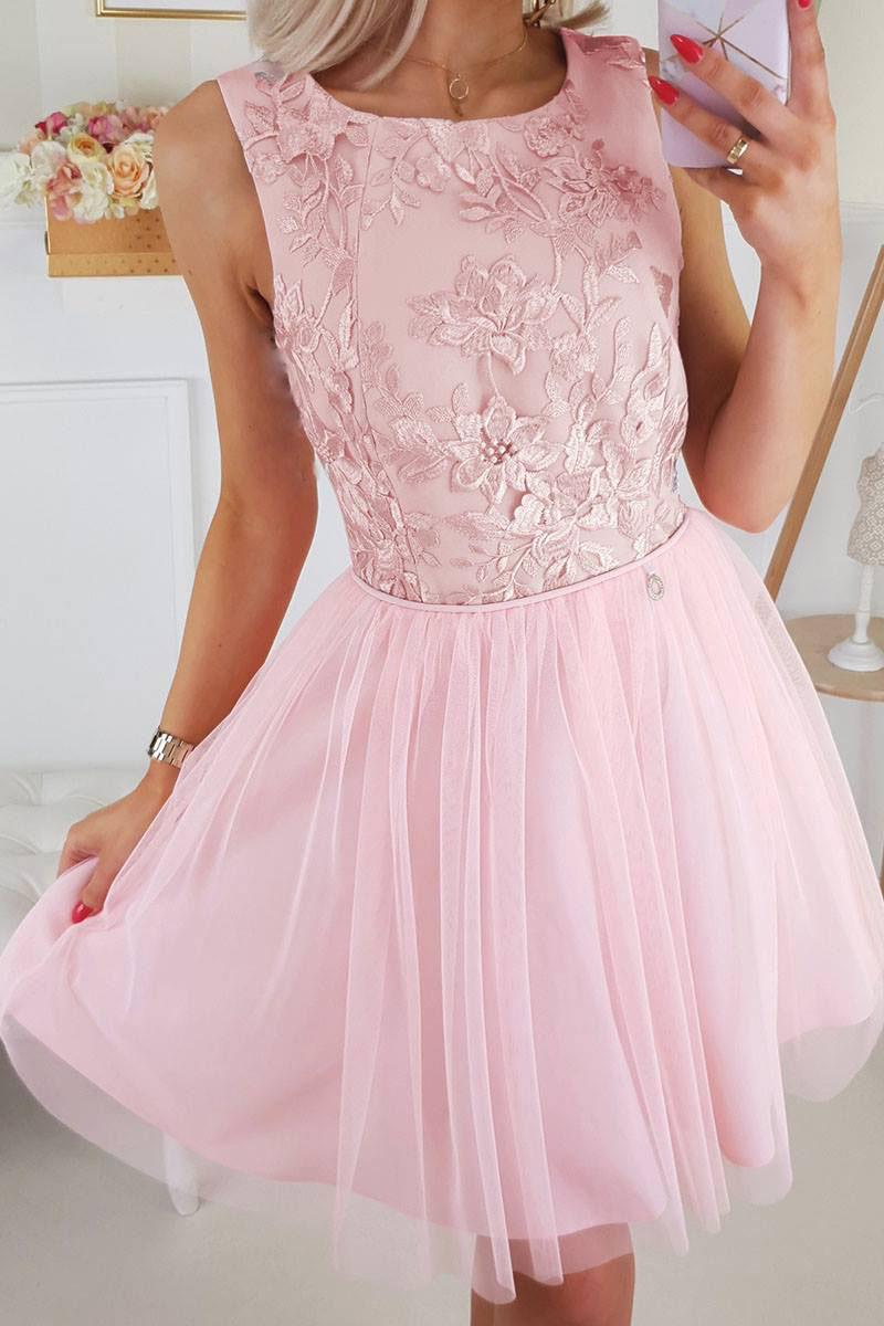 7233ea3aae Jokastyl Sukienka Z Z Koronką W Kwiaty Pudrowy Róż Xs S M L