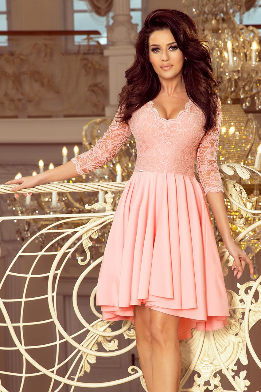 Wspaniały Nicolle Sukienka Koronkowy Dekolt Pastelowy Róż S M L Xl Xxl BG86