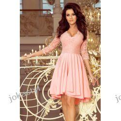 0db68151bf Nicolle Sukienka Koronkowy Dekolt Pastelowy Róż S M L Xl Xxl