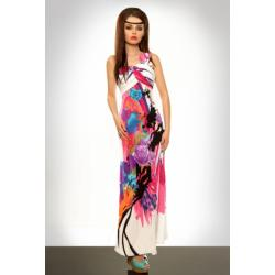 3328-2 Długa sukienka zakładana na jedno ramię - różowy...