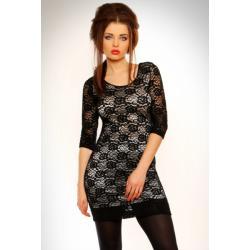 3101-1 Koronkowa sukienka z rękawem 3/4 - czarno-biała...