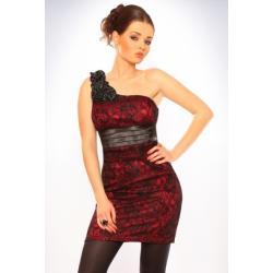 3004-1 Sukienka zakładana na jedno ramię pokryta koronką - bordowy...