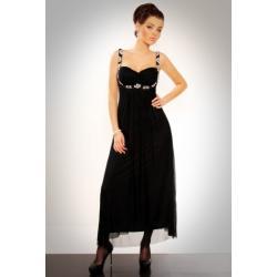 2811-3 Długa suknia z cyrkoniami pod biustem i na ramiączkach - czarny...