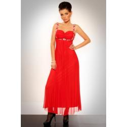 2811-1 Długa suknia z cyrkoniami pod biustem i na ramiączkach - czerwony...