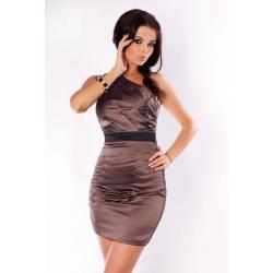 2401-1 Elegancka sukienka zakładana na jedno ramię z czarnym paskiem pod biustem...