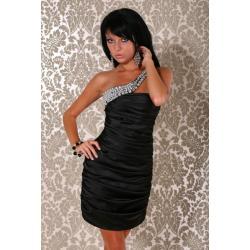 1001-1 Elegancka sukienka marszczona na jedno ramię z kamieniami...