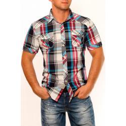 3326-2 Męska koszula na krótki rękaw w kratkę - stalowy...