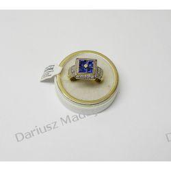Złoty pierścionek z cyrkoniami i szafirami Biżuteria i Zegarki