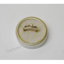 Zaręczynowy Złoty pierścionek z cyrkonią Biżuteria i Zegarki