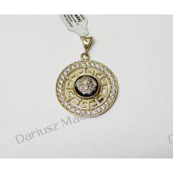 """Wisior """"Wersace"""" z czarną emalią i cyrkoniami ze złota 0,585 Biżuteria i Zegarki"""