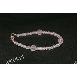 Bransoletka z kwarcu różowego w srebrze B69