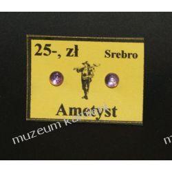 Malutkie kolczyki z jasnego ametystu w srebrze o średnicy 0,4 cm