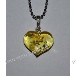 Piękne serce z bursztynu w srebrze BUR04