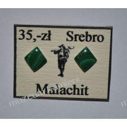 Wyjątkowe kolczyki z malachitu w srebrze KWK083
