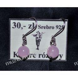 Kolczyki z kwarcu różowego w srebrze KW058