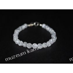 Kryształ górski - piękna bransoletka w srebrze B175 - nieduże kulki - 20,5 cm