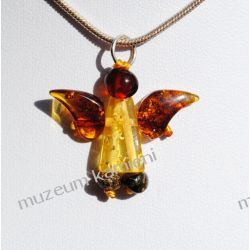 Piękny bursztyn w srebrze - aniołek WA082
