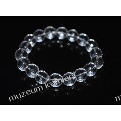 Piękny, fasetowany kryształ górski - bransoletka na gumce BB28