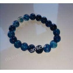 Niebieski agat - bransoletka na gumce BB37