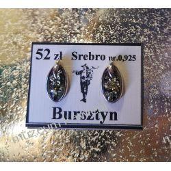 Kolczyki z zielonego bursztynu w srebrze KWK068