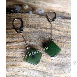 Piękne kolczyki z nefrytu w srebrze KW013