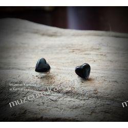 Urocze serduszka z hematytu - kolczyki w srebrze KWK082