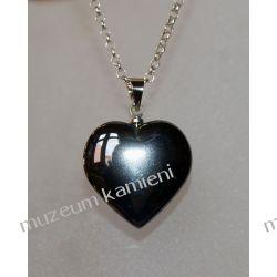 Hematyty - urocze wisiory w kształcie serca W013