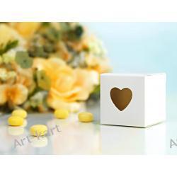 Pudełeczka dla gości kwadratowe z sercem białe / 10szt Zaproszenia, zawiadomienia