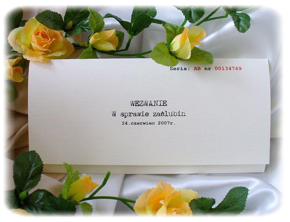 Zaproszenia ślubne W Formie Wezwania A4 Wezwanie W Sprawie Zaślubin