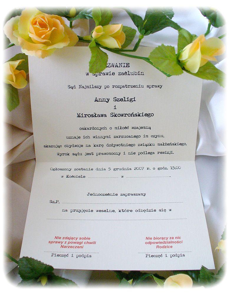 Zaproszenia ślubne W Formie Wezwania A5 Wezwanie W Sprawie Zaślubin