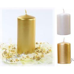 Świece klubowe pieńki metalizowane 120/60 x 6szt / perłowy lub złoty Zaproszenia, zawiadomienia
