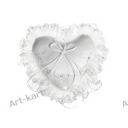 Poduszka pod obrączki serce z haftem SOB8 / biała i kremowa Zaproszenia, zawiadomienia