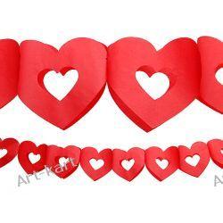 Girlanda serca puste czerwone 3m  Zaproszenia, zawiadomienia