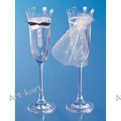 Kieliszki do szampana z długą nóżką - muszka i welon / 2szt  Zaproszenia, zawiadomienia