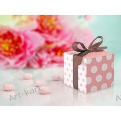 Pudełeczka dla gości różowe w kropki z wstążeczką / 10szt