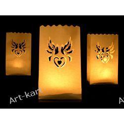Lampiony torebki ażurowe na świece gołąbki / 10szt  Zaproszenia, zawiadomienia