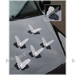 Motyle ozdobne ażurowe 14cm - perłowe 10szt Zaproszenia, zawiadomienia