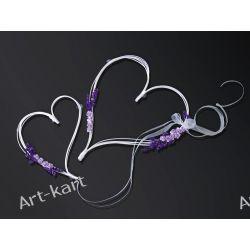 Serca rattanowe na przyssawkach z fioletowymi bukiecikami SRK4 Zaproszenia, zawiadomienia