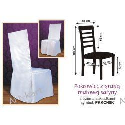 Pokrowiec z białej grubej satyny na krzesło z kwadratowym oparciem / PKKCN8K Zaproszenia, zawiadomienia