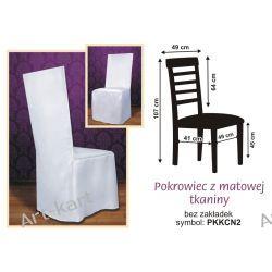 Pokrowiec z białej tkaniny na krzesło z kwadratowym oparciem / PKKCN2 Zaproszenia, zawiadomienia