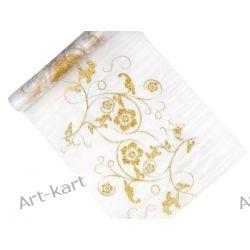Organza biała ze złotym nadrukiem 36cm x 9m / bieżnik na stół