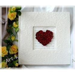 Księga Gości weselnych z sercem z róż / 40 stron Zaproszenia, zawiadomienia