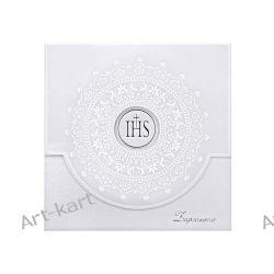 Zaproszenie na I Komunię św. z białym ornamentem ZPK16 Zaproszenia, zawiadomienia