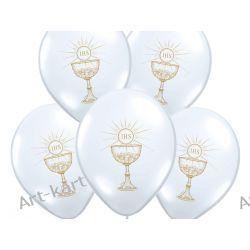 """Balony 14"""" komunijne pastelowe białe z nadrukiem złotym / 50szt Zaproszenia, zawiadomienia"""
