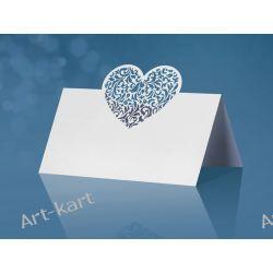 Wizytówki (winietki) na stół ażurowe serce WS52/ 10szt Zaproszenia, zawiadomienia