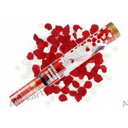 Tuba - granat strzelający białymi sercami i czerwonymi płatkami róż / 50cm Zaproszenia, zawiadomienia