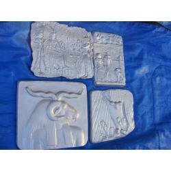 Cztery  egipskie płaskorzeżby,płaskorzeżba Akcesoria