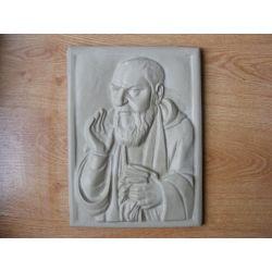 Ojciec Pio-relief,plaskorzeżba