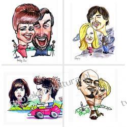 Karykatura kolorowa, 2 osoby