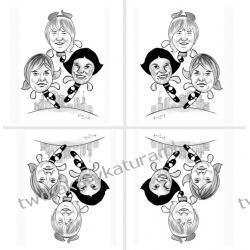 Karykatura czarno-biała, 3 osoby